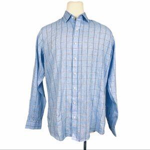 Buttoned Down Men's Blue Plaid Button Down XL